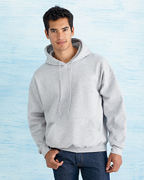 Model wearing Gildan 9.3 oz. DryBlend™ 50/50 Hood