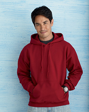 Model wearing Gildan 8 oz. Heavy Blend™ 50/50 Hood