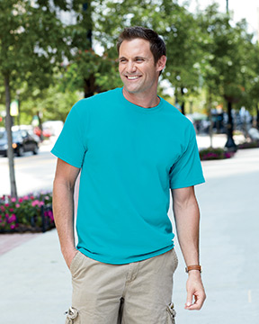 Model wearing Gildan 5.3 oz. Heavy Cotton T-Shirt