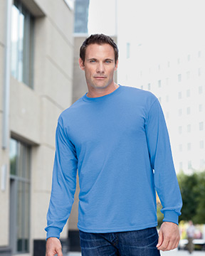 Model wearing Gildan DryBlend™ 5.6 oz., 50/50 Long-Sleeve T-Shirt