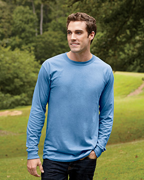 Model wearing Hanes 6.1 oz. Long-Sleeve Beefy-T®