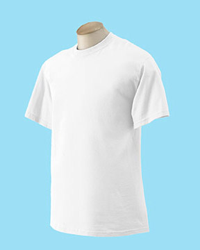 A white Gildan Cotton T-Shirt