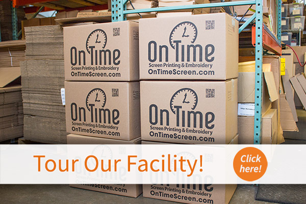 On Time can print, embroider, or otherwise customize any size order.