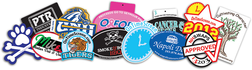 A sample of custom stickers and decals that on time is able to print